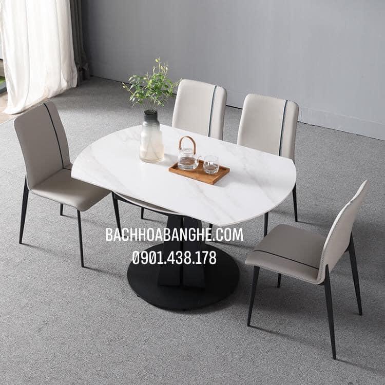 Bộ bàn ăn tròn mặt đá thông minh ghế da Zena