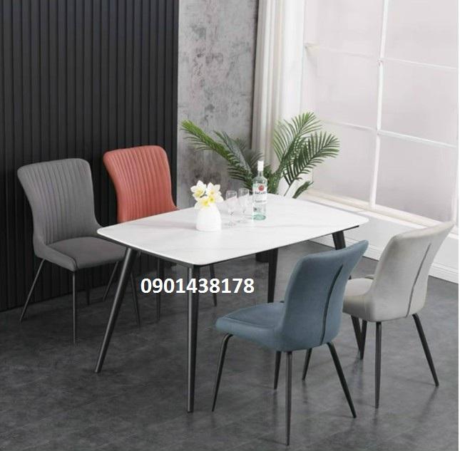 Bộ bàn ăn mặt đá ghế da Sheraton