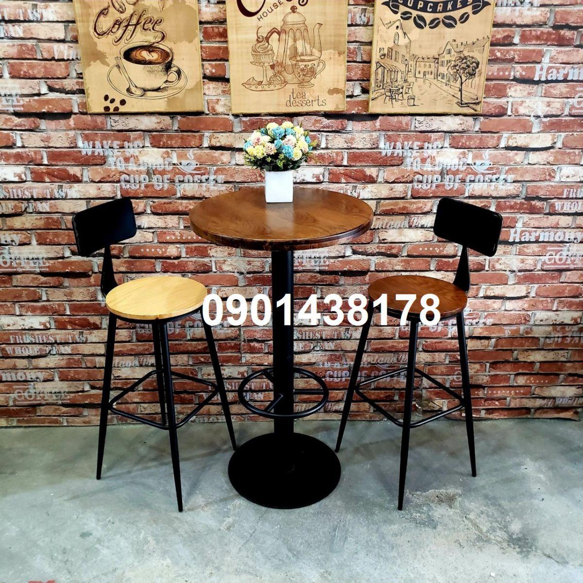 Bộ bàn ghế bar có tựa lưng cho quán cafe, bar, căn hộ