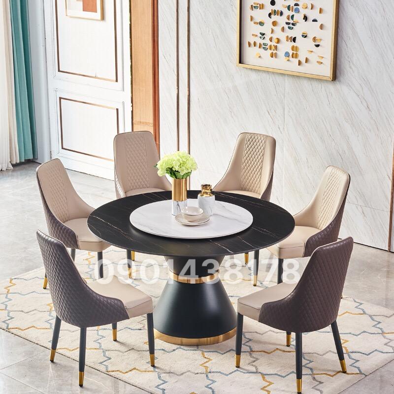 Bộ bàn ăn tròn 2 mặt đá xoay ghế da Louis sang trọng