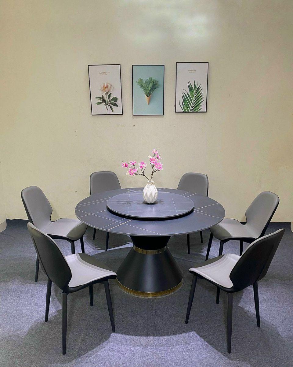 Bộ bàn ăn 2 mặt đá xoay ghế da Nordic