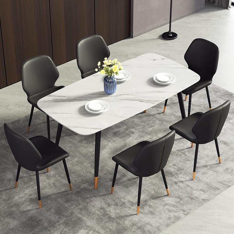 Bộ bàn ăn mặt đá ghế da sang trọng