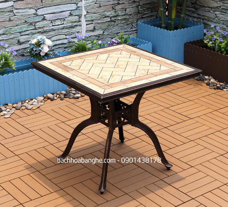 Bàn vuông cafe sân vườn ngoài trời nhôm đúc mặt đá BSV07