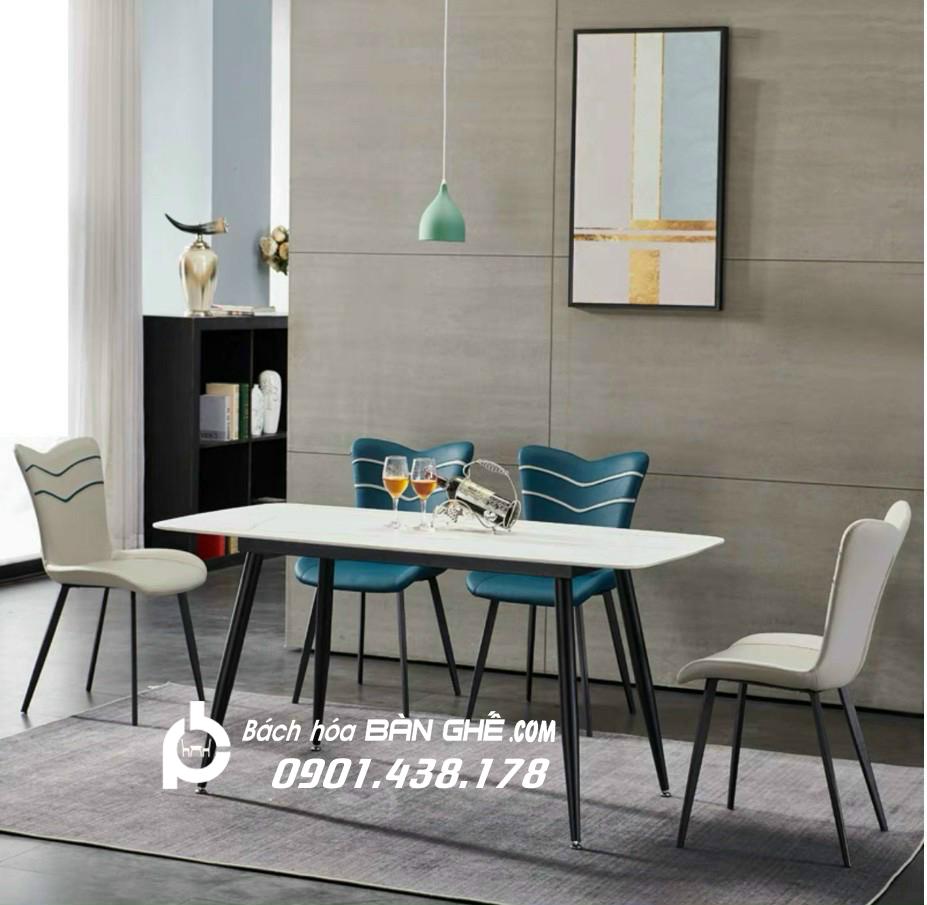 Bộ bàn ăn mặt đá ghế ăn da Janda GLM130