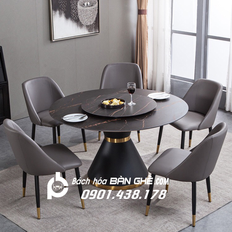 Bộ bàn ăn 2 mặt đá mâm xoay ghế da Lisa