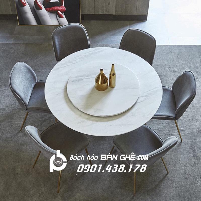 Bộ bàn ăn 2 mặt đá mâm xoay ghế da Gubi