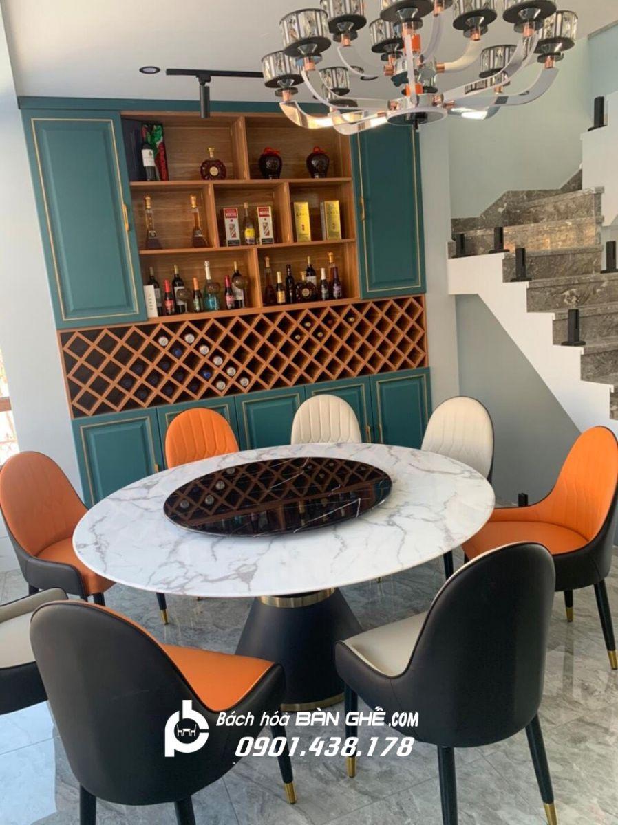 Bộ bàn ăn 2 mặt đá mâm xoay ghế da Monet