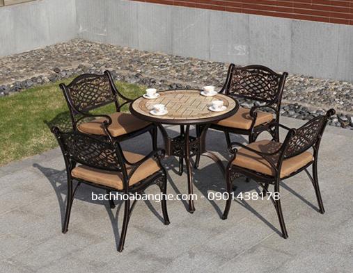 Bộ bàn ghế cafe sân vườn ngoài trời nhôm đúc mặt đá tại HCM