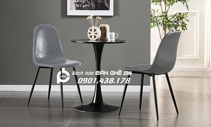 Bộ bàn tròn ghế da tiếp khách đơn giản cho cửa hàng, văn phòng