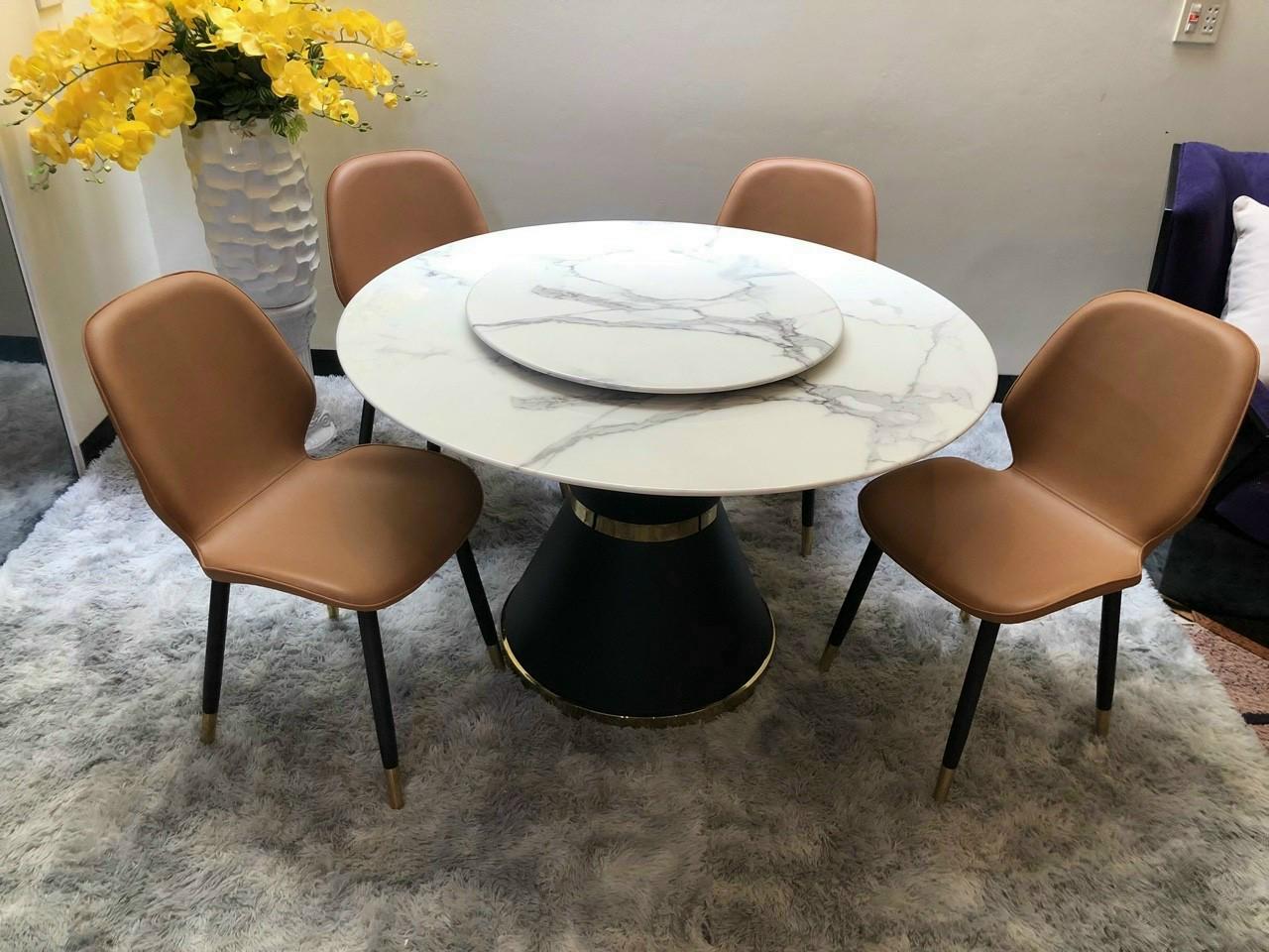 Bộ bàn ăn 2 mặt đá xoay ghế da