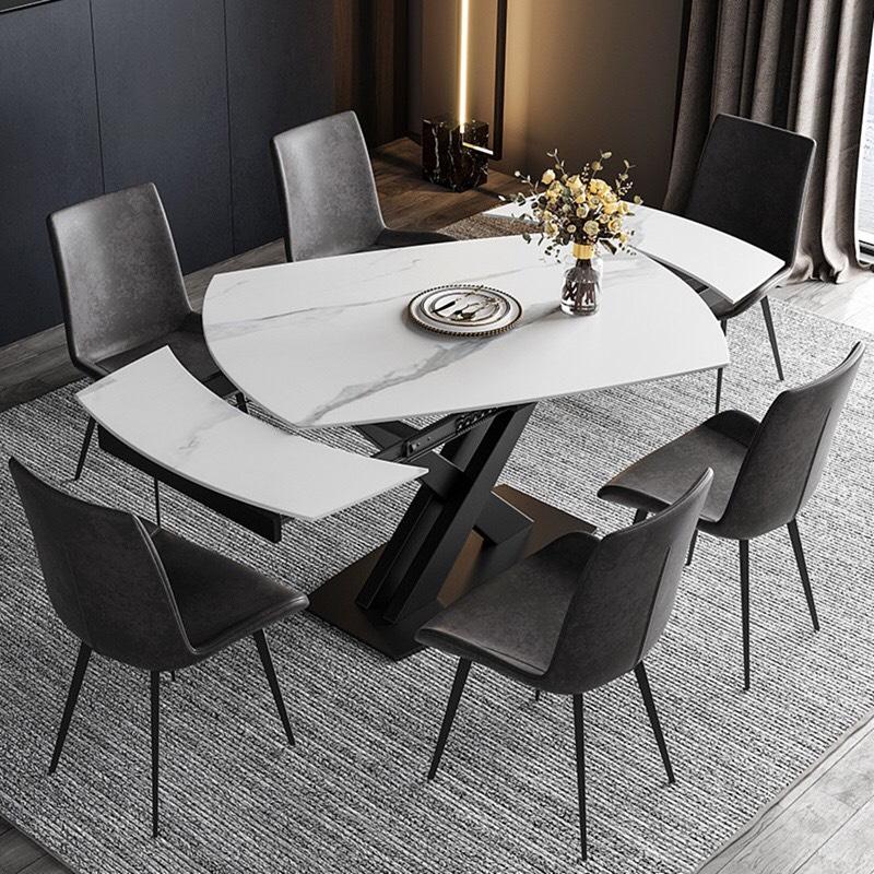 Bộ bàn ăn mặt đá xoay chữ nhật ghế da Nelson